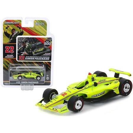 Greenlight 10855 Dallara Indy Car No22 Simon Pagenaud Menards Team Penske Indianapolis 500 Champion 2019 0.16 0.4 Diecast Model Car Indy 500 Racers
