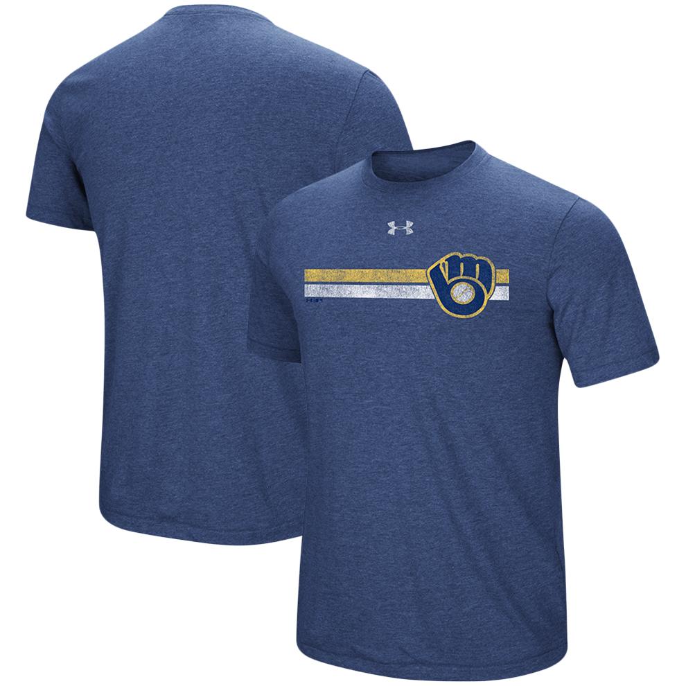 Milwaukee Brewers Under Armour Stripe Logo Tri-Blend T-Shirt - Heathered Navy