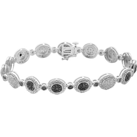 1/4 Carat T.W. Black Princess Diamond Round Frame Sterling Silver Fashion Bracelet, 7