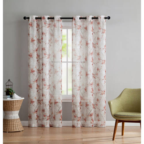 VCNY Home Jasmine Semi Sheer Floral Printed Grommet Top Window Curtain Panel, Set of 2,... by VCNY Home