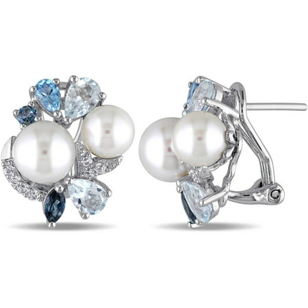 Multi-shape White Round Cultured Freshwater Pearl with 3-1/2 Carat Created White Sapphire and Blue Topaz Sterling Silver Multi-Stone Clip-Back Earrings