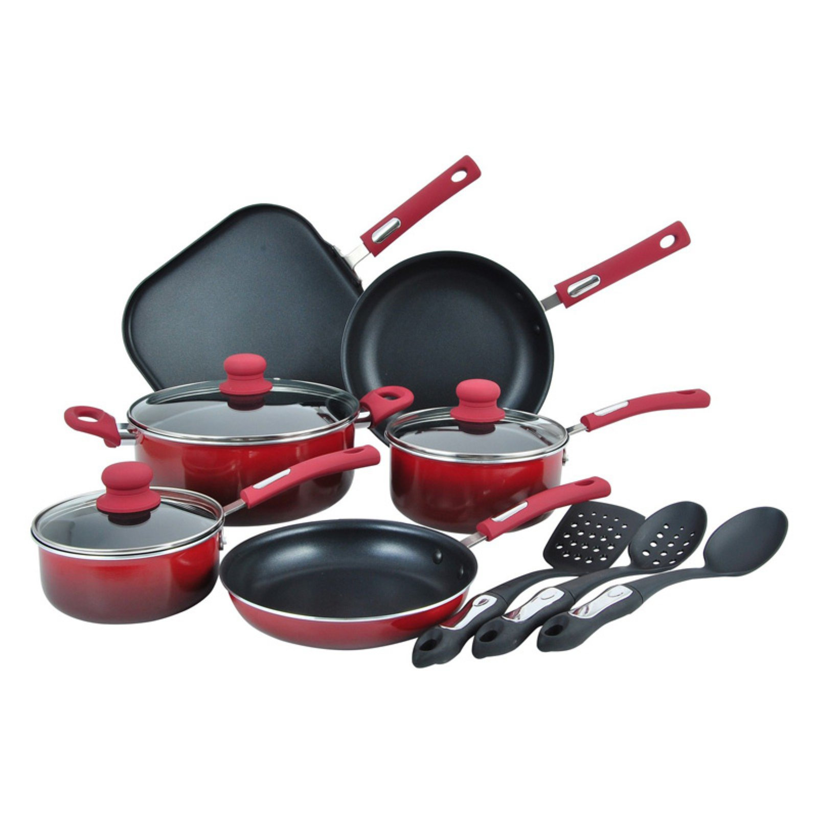 Hamilton Beach 12pc Aluminum Cookware Set, 3.0mm, Gradient Red, Non-Stick Interior, Soft Touch Handles