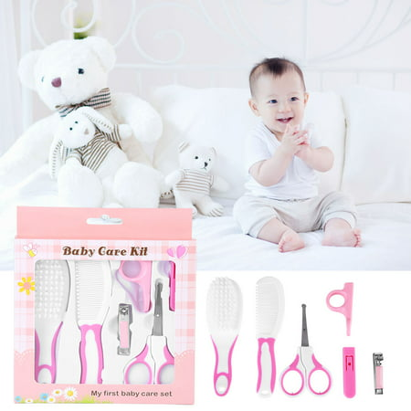 Ymiko 6pcs Daily Infant Kids Care Kit Baby Grooming Health Hair Care Products Kits Newborn Gift Box Nail Clipper Set Brush Scissors Comb etc,Baby Nail