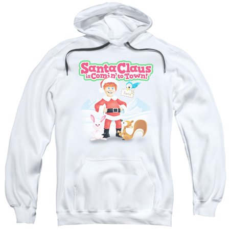 Santa Claus Is Comin To Town/Animal Friends Adult Pull Over Hoodie White  Drm137