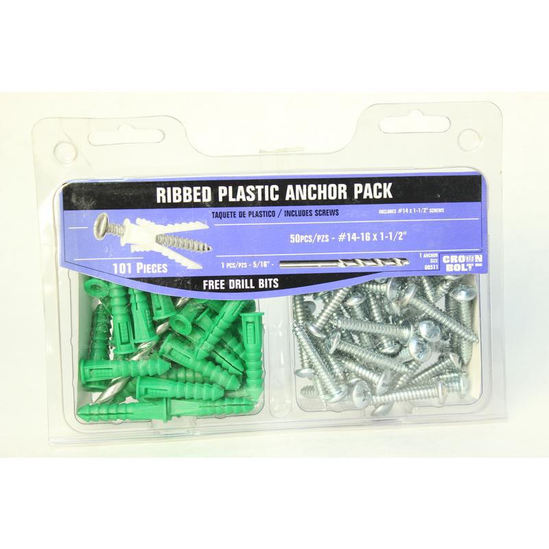 "101-Piece 1-1/4"" Coarse Phillips Plastic Ribbed Anchor/Steel Screw/Bit Kit 511"