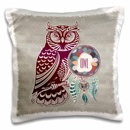 3dRose Native American Zodiac for November 23 to December 21 Purple Owl, Pillow Case, 16 by 16-inch