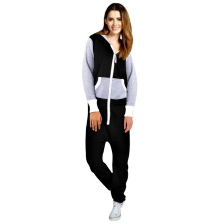 Womens Fleece Playsuit Ladies Jumpsuit Non-Footed Adult One-Piece (70's Women's Jumpsuits)
