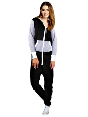 Womens Fleece Playsuit Ladies Jumpsuit Non-Footed Adult One-Piece Pajama