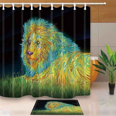 Artjia Wild Creature Decor Watercolor Lion Lying On Grass