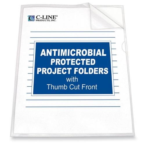 "C-line Anti-microbial Project Folder - Letter - 8.50"" X 11"" - Polypropylene - Clear - 25 / Box (CLI62137)"