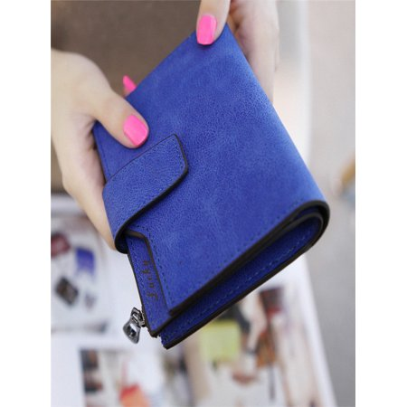 Women Mini Grind Magic Bifold Leather Wallet Card Holder Wallet Purse BU