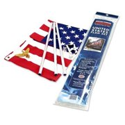 Valley Forge Flag US1-1 Residential Kit w/ 3' x 5' US, Steel Pole, red, White & Blue Flag, Steel Bracket