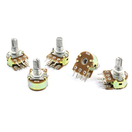 5Pcs B20K 20K Ohm Dual Linear Taper Pot Carbon Film Potentiometers  (Dual Potentiometer)