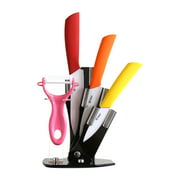 """Tim Home 4 Pieces Multi Color Ceramic Cutlery Kitchen Knives 3"""", 4"""", 5"""" with Fruit Peeler and Knife Stand (TJC-034)"""
