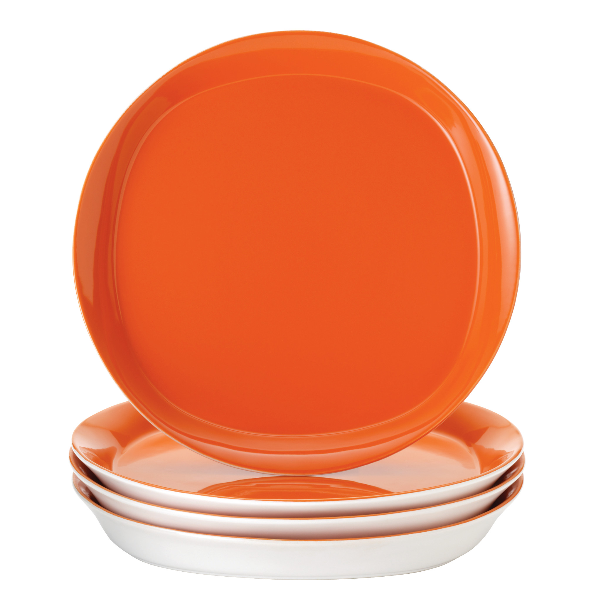 Rachael Ray Dinnerware Round and Square 4-Piece Stoneware Dinner Plate Set, Orange