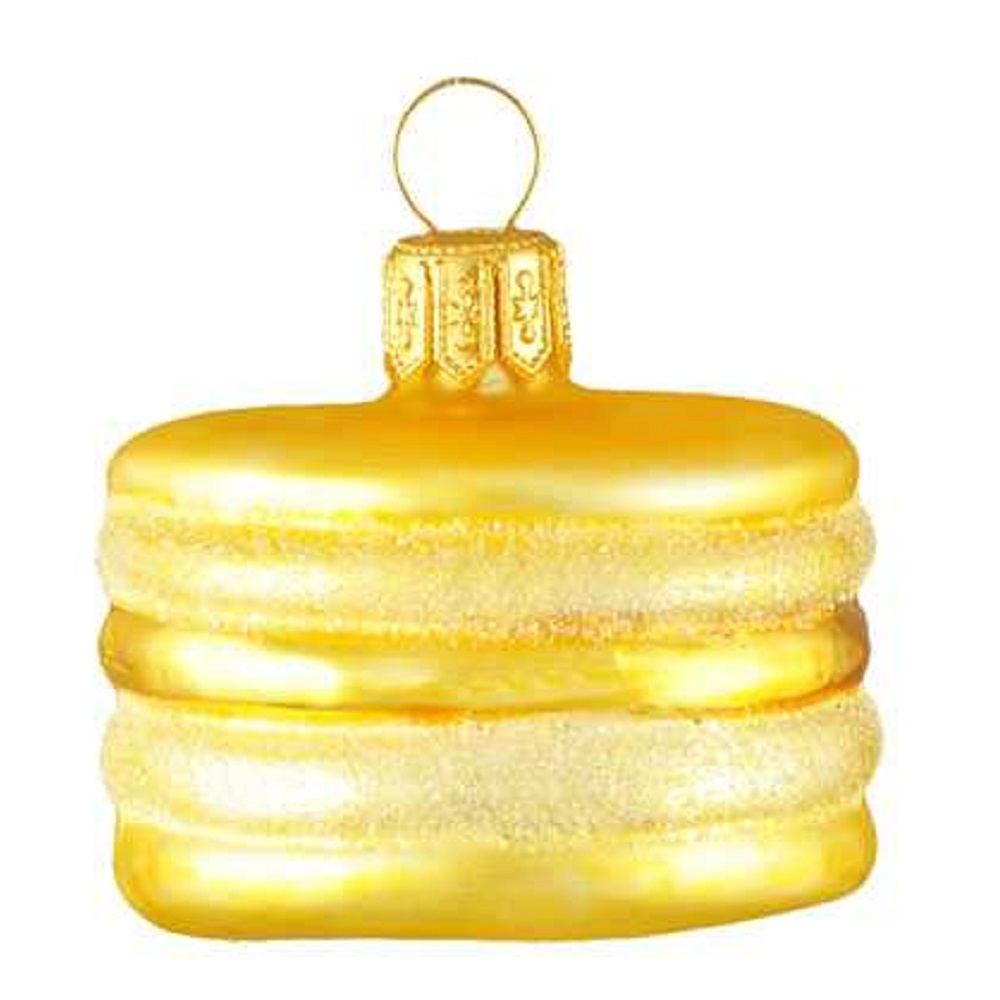 Mini Yellow French Macaron Polish Glass Christmas Ornament Macaroon Food