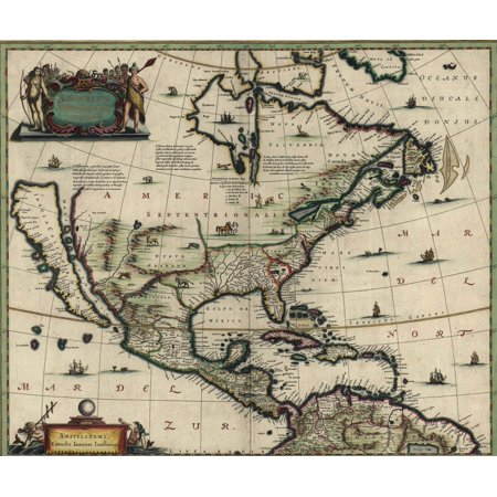 North American Map Created In 1652 Showing California As An Island Spanish Possessions In Mexico History