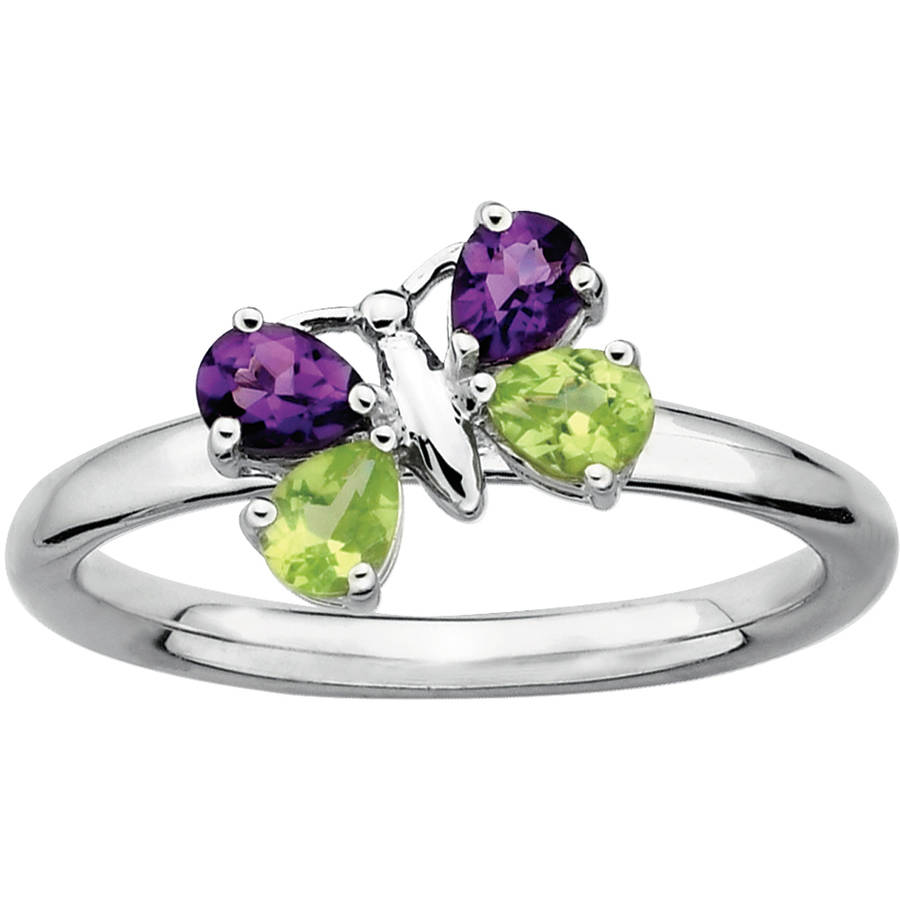Stackable Expressions Amethyst and Peridot Sterling Silver Butterfly Ring