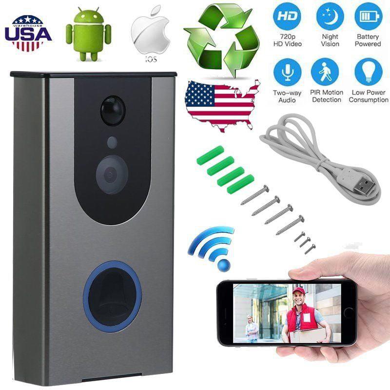 Wifi Video Doorbell, Wireless WiFi DoorBell,Smart Wireless WiFi HD Video DoorBell Camera Phone Night Vision Home,Video Doorbell