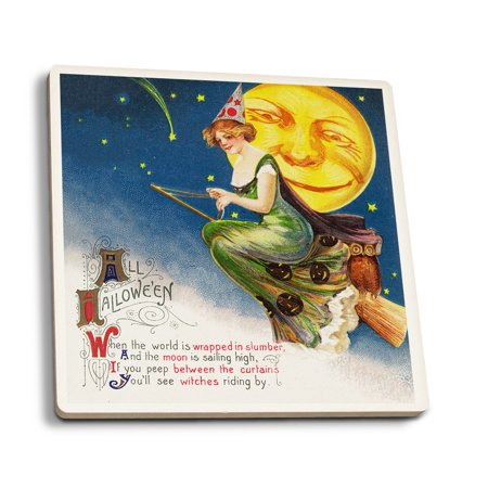 All Halloween Witch on a Broom by Full Moon Scene - Vintage Holiday Art (Set of 4 Ceramic Coasters - Cork-backed, Absorbent)](Full Moons On Halloween)