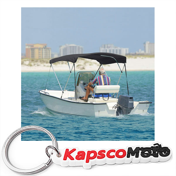"North East Harbor 3 Bow Boat Bimini Top Cover Gray With Zippered Boot Fits 85""-90"" Width Beam V-Hull Fishing... by KapscoMoto"