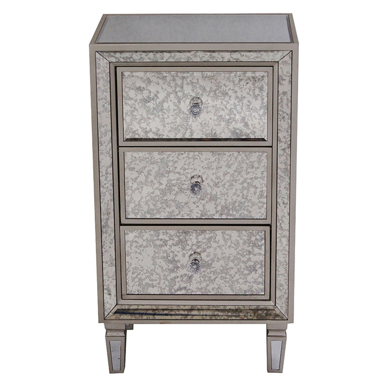 Heather Ann Creations Eleganza 3 Drawer Tall Antiqued Mirror Accent Cabinet