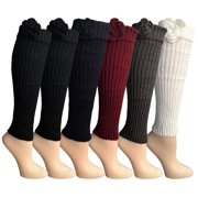 6 Pairs of Womens Leg Warmers, Warm Winter Soft Acrylic Assorted Colors by WSD (2Tone Glitter) (One Size)
