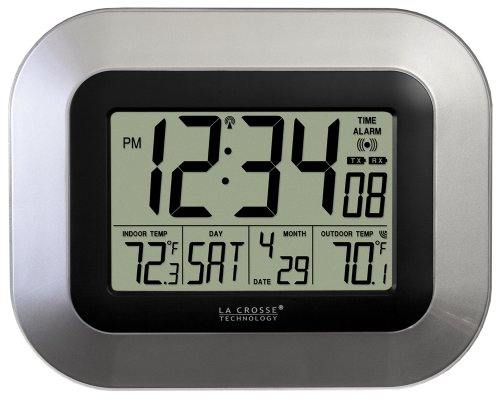La Crosse Technology Solar Atomic Digital Wall Clock with Indoor Temperature WT-8112U Bronze