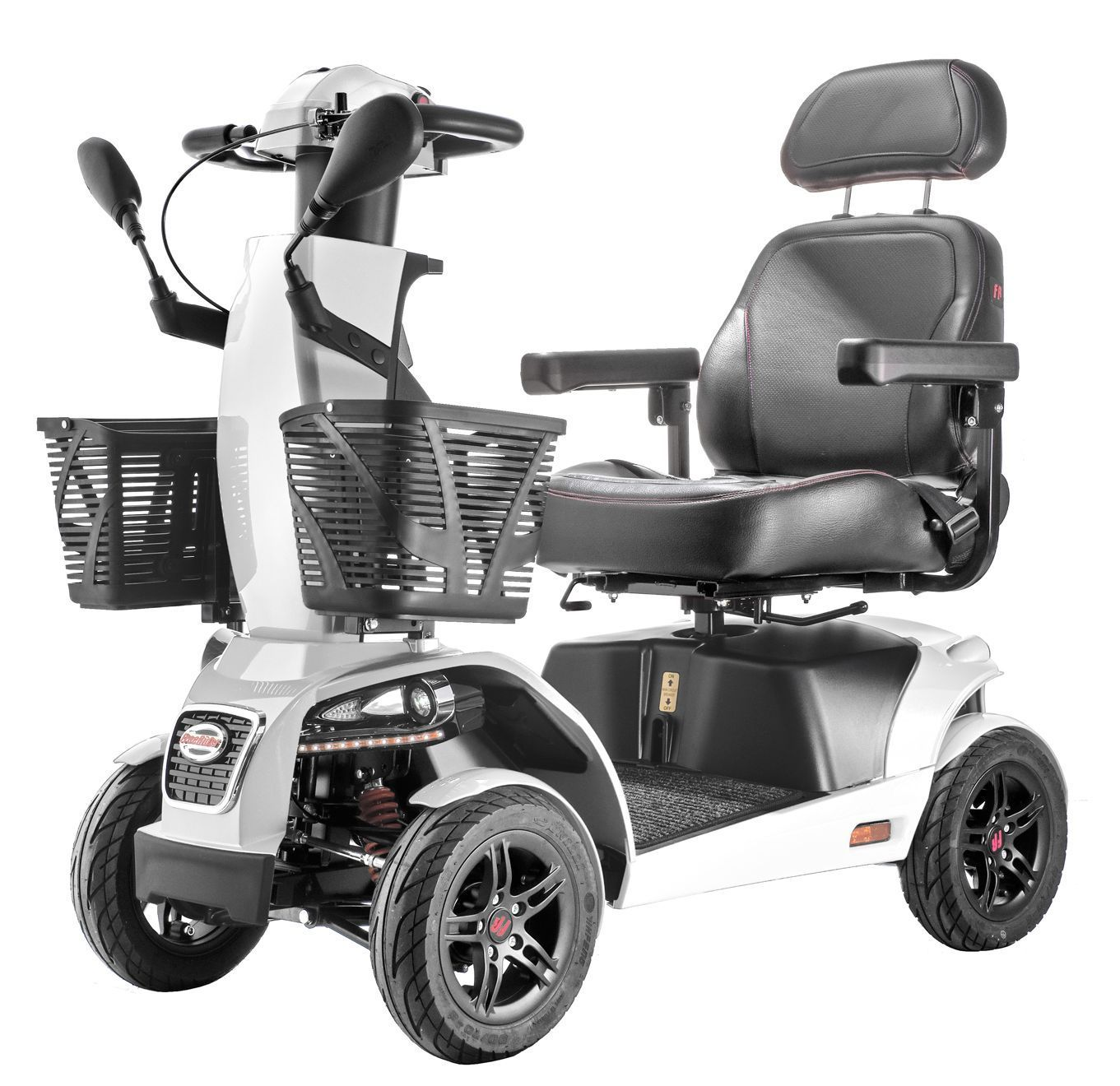 FR1 Rugged Large Mobility Scooter Freerider 4-Wheel w/ Suspension Speed 9.4 mph, White