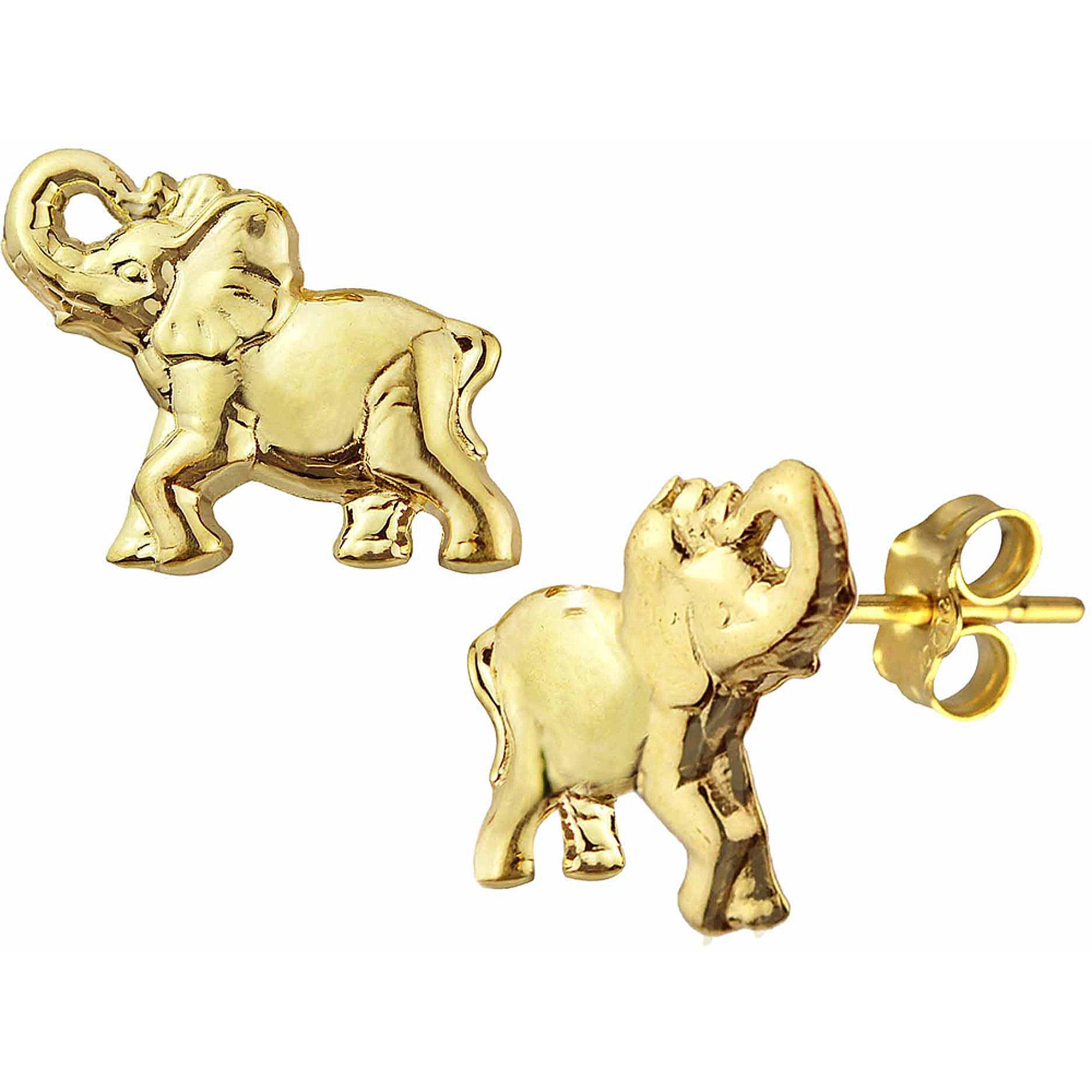 US GOLD 10kt Gold Elephant Stud Earrings