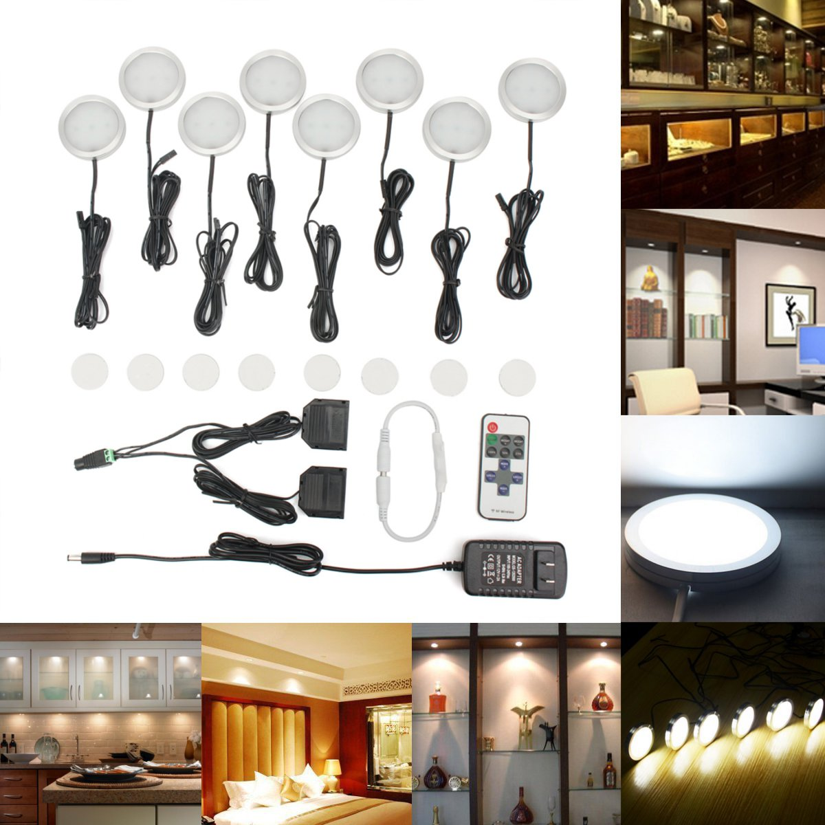 8 Packs LED Under Cabinet Lighting Kit 12V Low Profile ...