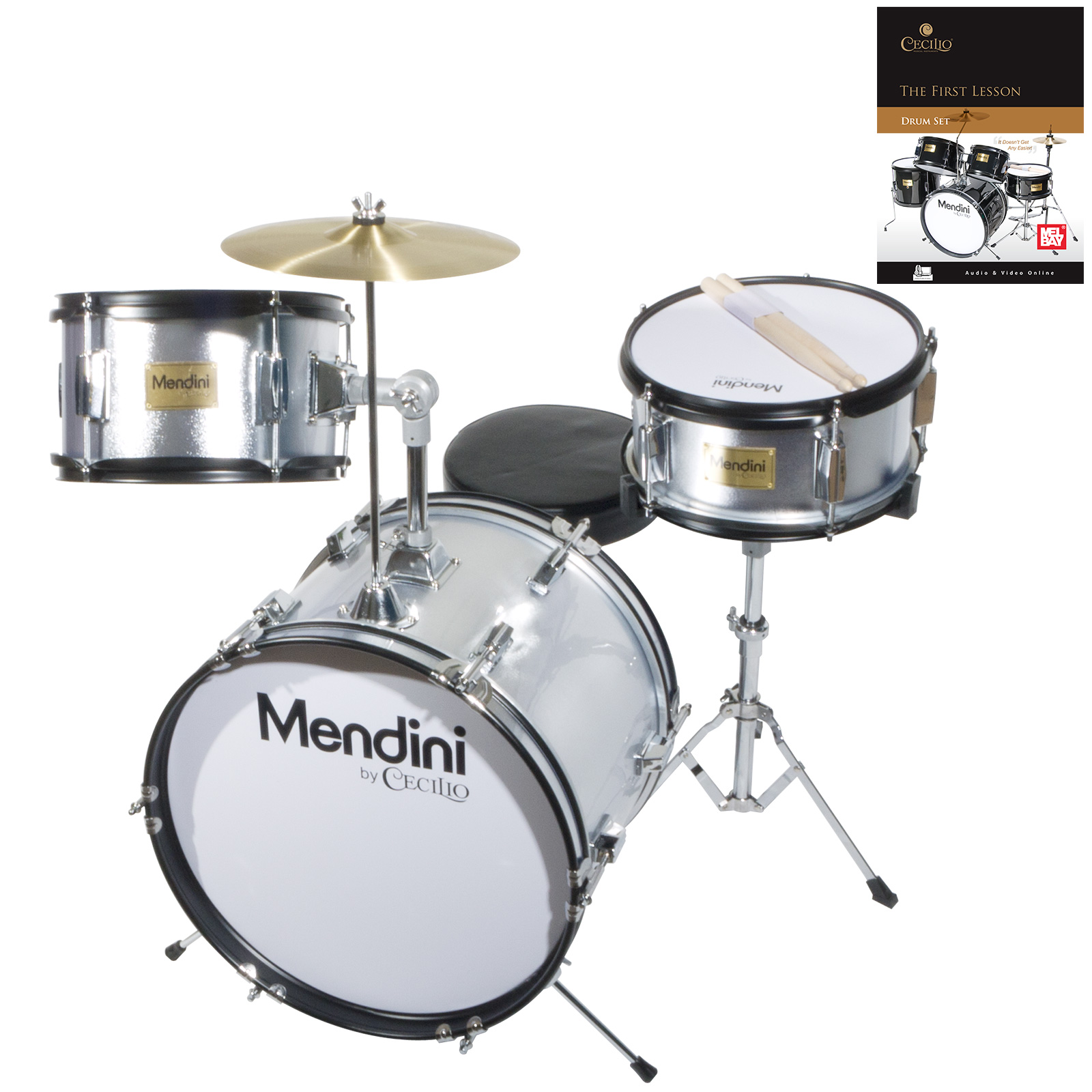 "Mendini by Cecilio 16"" 3-Piece Kids / Junior Drum Set with Adjustable Throne, Cymbal, Pedal, Drumsticks & Lesson Book, Metallic Silver, MJDS-3-SR"