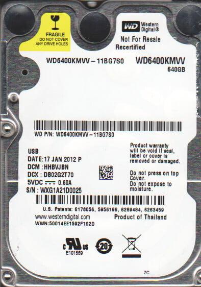 WD6400KMVV-11BG7S0, DCM HHBVJBN, Western Digital 640GB USB 2.5 Hard Drive by WD