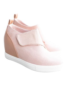 Womens Platform Wedge Heel Slip On Sneaker Loafer Shoes
