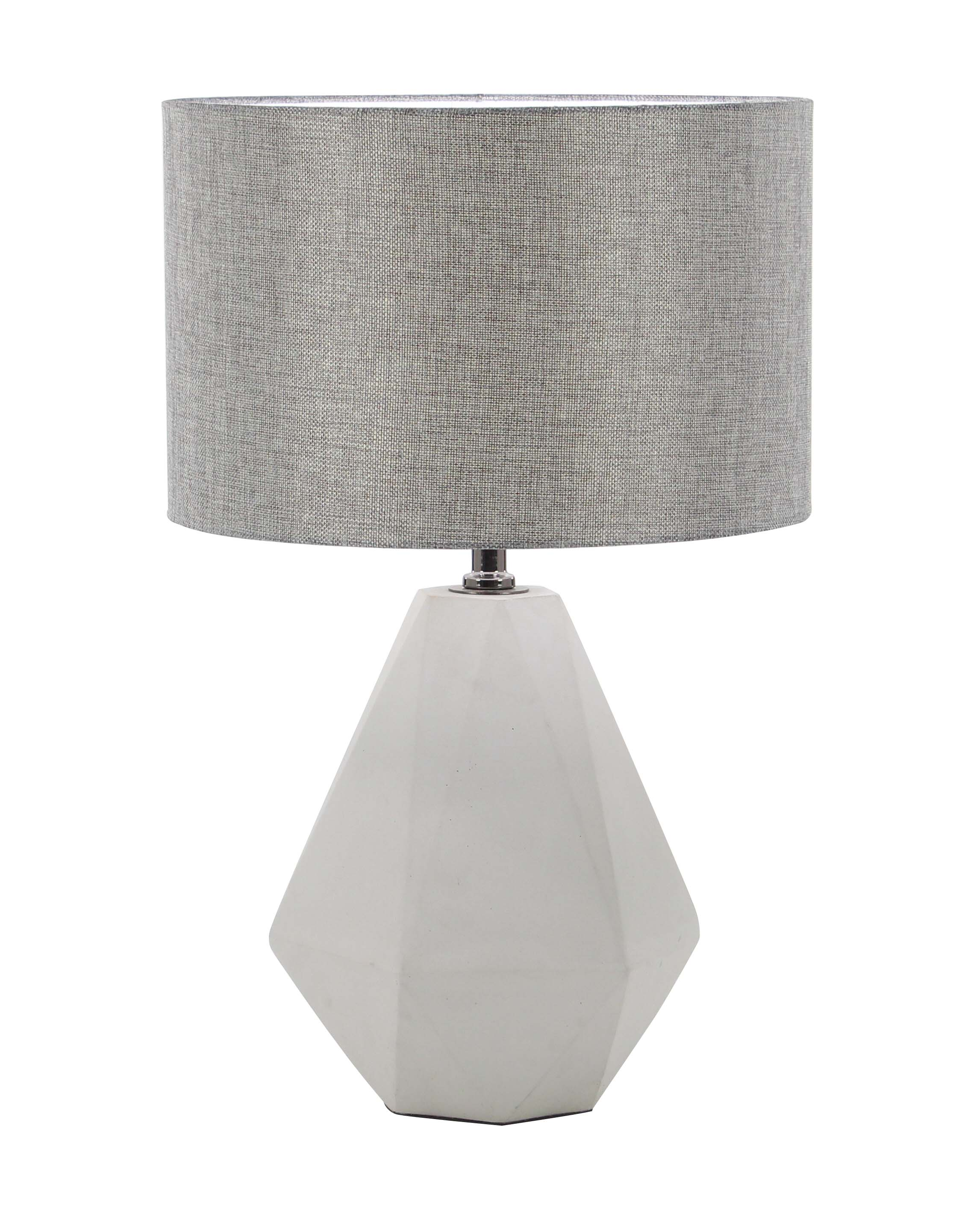 Decmode Modern Concrete and Iron Faceted Pear-Shaped Gray Table Lamp, Light Gray by DecMode