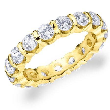 - 3 CT  Diamond Eternity Wedding Band in 14K Yellow Gold, 3.0 CT Round Diamond Anniversary Ring
