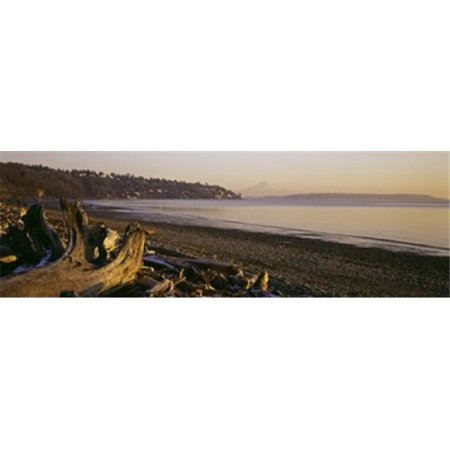 Images panoramiques PPI105752L flott- sur la plage Discovery Park Mt Rainier Seattle King County -tat de Washington USA copie d'affiche par images panoramiques - 36 x 12 - image 1 de 1