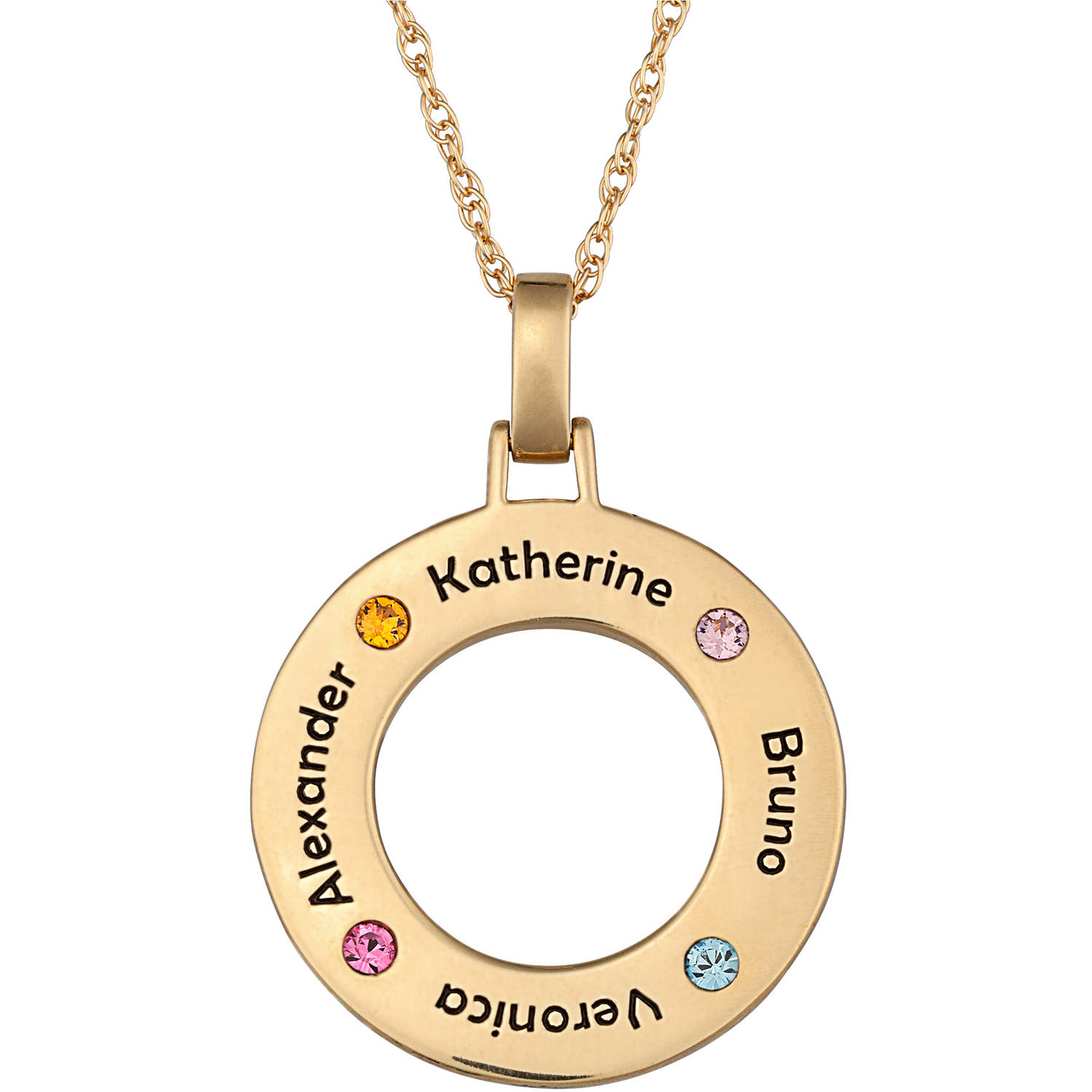 Personalized 14kt Gold over Sterling Silver Family Name & Birthstone Disc Necklace