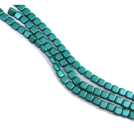 Dark Green 6mm Square Glass Czech Two Hole 25 Tile, Loose Beads, (6 Mm Square Green)