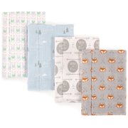 Luvable Friends Basics Baby Boy and Girl Flannel Burp Cloth, 4-Pack - Wild & Free