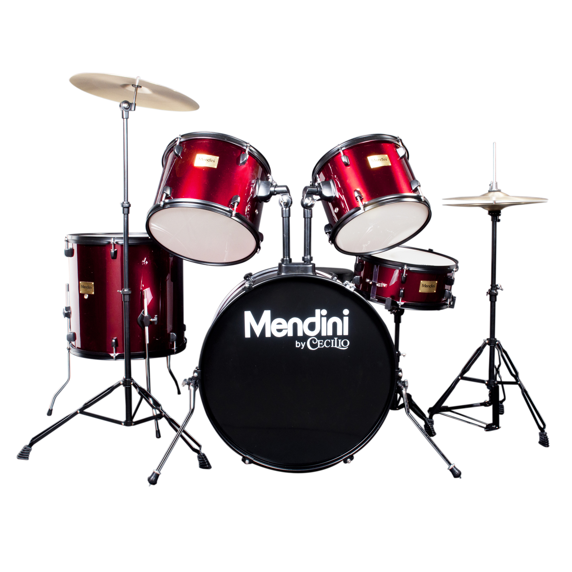 Mendini by Cecilio Complete Full Size 5-Piece Adult Drum Set w/ Cymbals Pedal Throne Sticks, Metallic Bright Red MDS80-BR