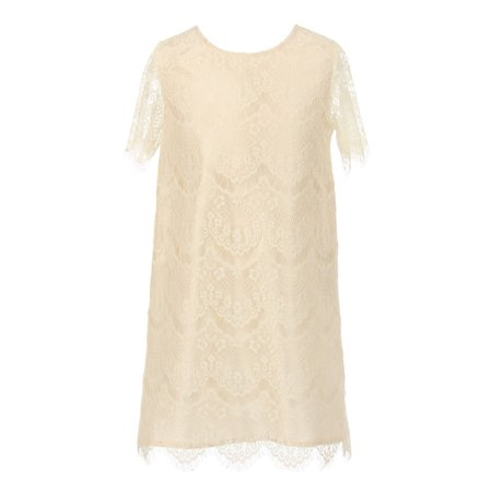 Big Girls Ivory Eyelet Lace Scallop Short Sleeved Party Dress - Girls Eyelet Dress
