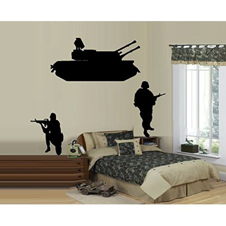 Decal ~ Army Tank and Two Soldiers ~ WALL DECAL, LARGE Tank 17