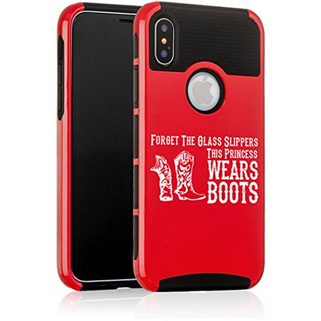For Apple (iPhone X) Shockproof Impact Hard Soft Case Cover Princess Wears Boots Cowgirl - Cowgirl Princess