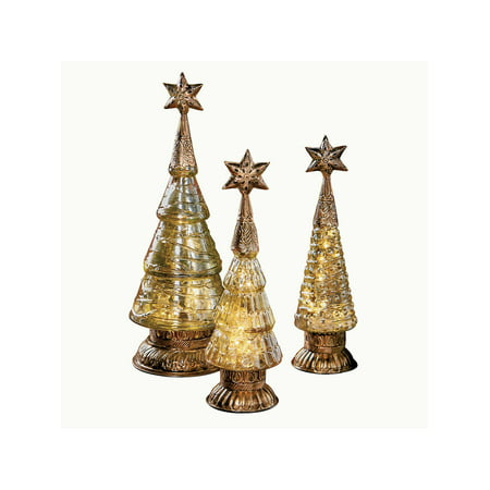 "Art & Artifact Mercury Glass Trees - Set of 3 Christmas Tree Decorations 13"" to 17"" Holiday Decor Home Decor - Walmart.com"