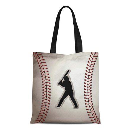 LADDKE Canvas Tote Bag Team Mvp Baseball Player Cool Stitches League Hitter Batter Reusable Handbag Shoulder Grocery Shopping Bags