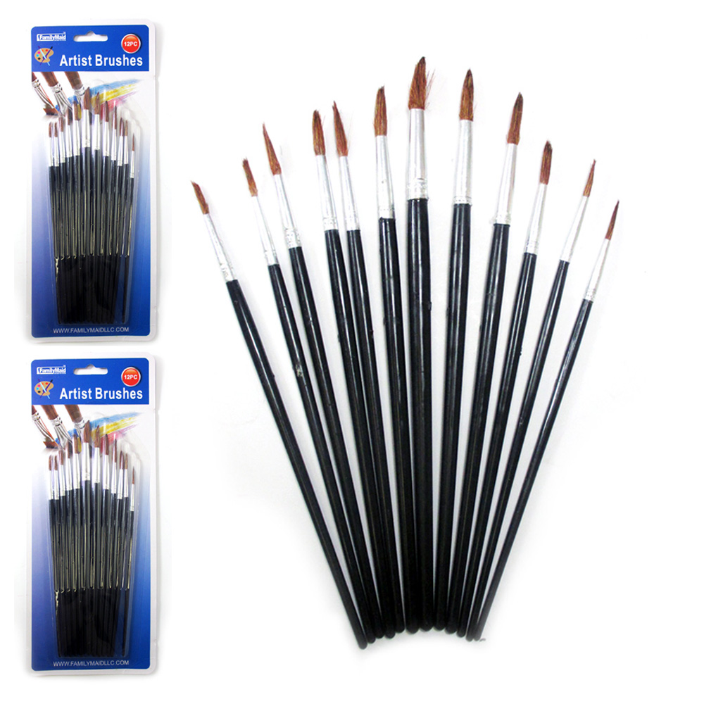 24 Pc Artist Paint Brush Set Watercolor Acrylic Painting Pointed Brushes Crafts