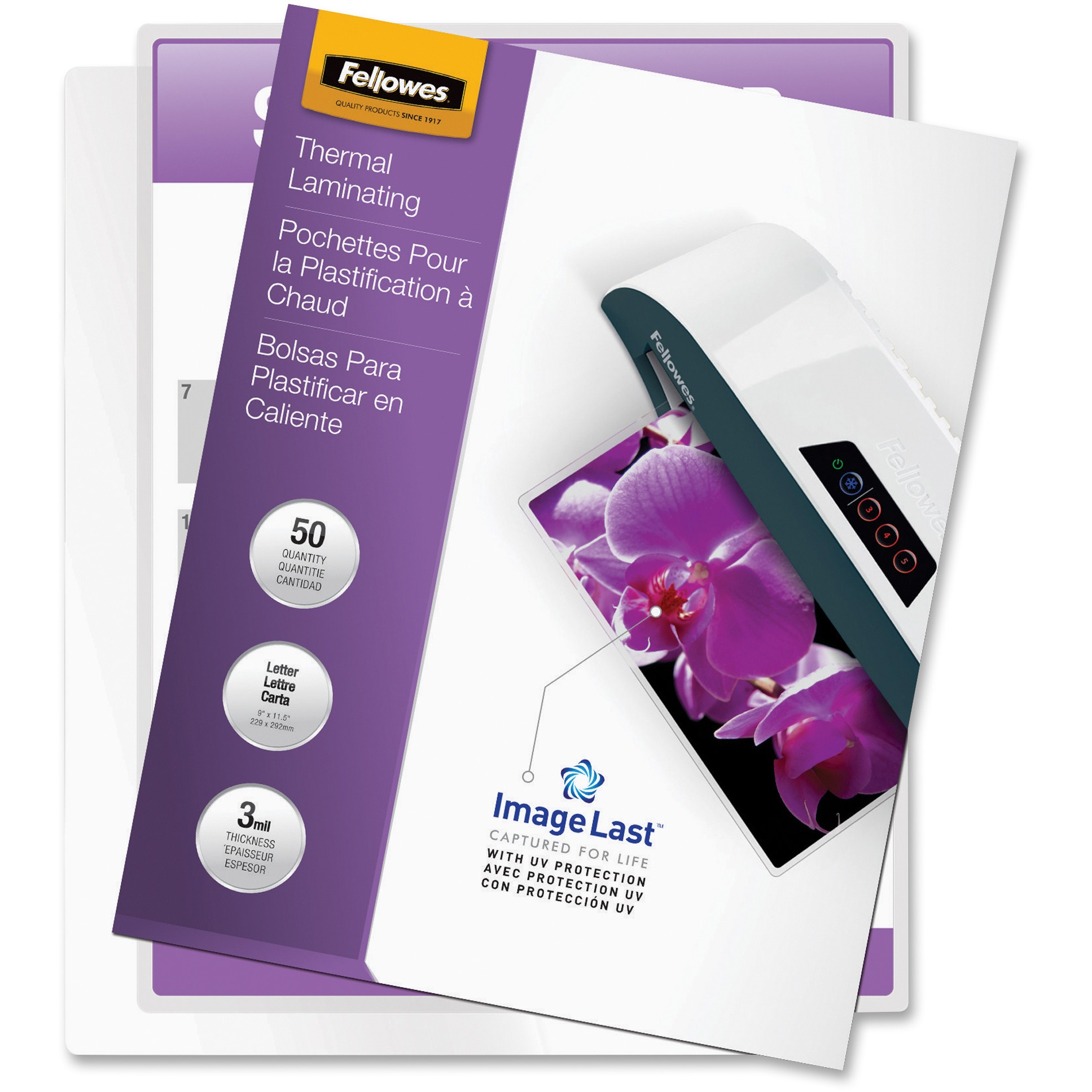 Fellowes, FEL52225, Letter-size Glossy Laminating Pouches, 50 / Pack, Clear