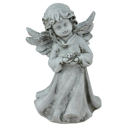 Sleeping Cherub Garden (Northlight Heavenly Gardens Cherub Angel Girl with Flower Outdoor Garden Statue )