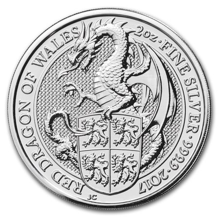 British Uncirculated Coin - 2017 Great Britain 2 oz Silver Queen's Beasts The Dragon
